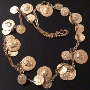 """Vintage Gold Metal Roman Coin Style Necklace 30"""""""